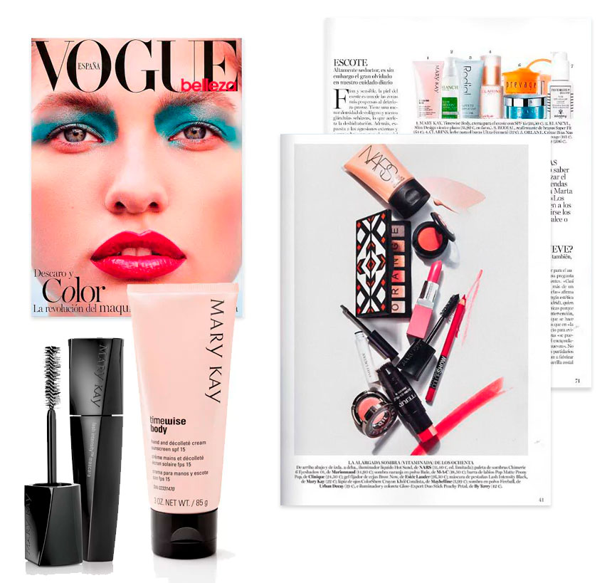 d72002e35f Mary Kay en Revista Vogue (Abril 2017). La crema para manos y escote y la  máscara de pestañas lash intensity en la revista
