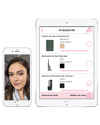 Visualización de la app Mirror Me de Mary Kay en dispositivos móviles