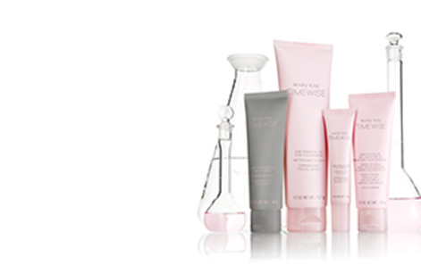 Mary Kay TimeWise Miracle Set 3D product group shot with lab beakers