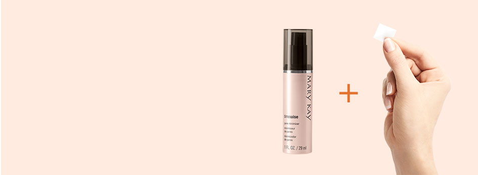 When you combine NEW TimeWise Vitamin C Activating Squares with your favorite Mary Kay serum, it powers up your serum for an age-fighting boost. Image features a light orange background. On the right side, the TimeWise Pore Minimizer bottle is shown along with a hand holding a new TimeWise Vitamin C Activating Square. In between them is a dark orange plus sign.