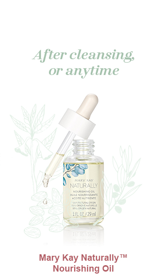 Mary Kay Naturally Nourishing Oil pictured dropper atop bottle dripping oil and light green illustrations of a sesame oil plant, olive oil plant and almonds